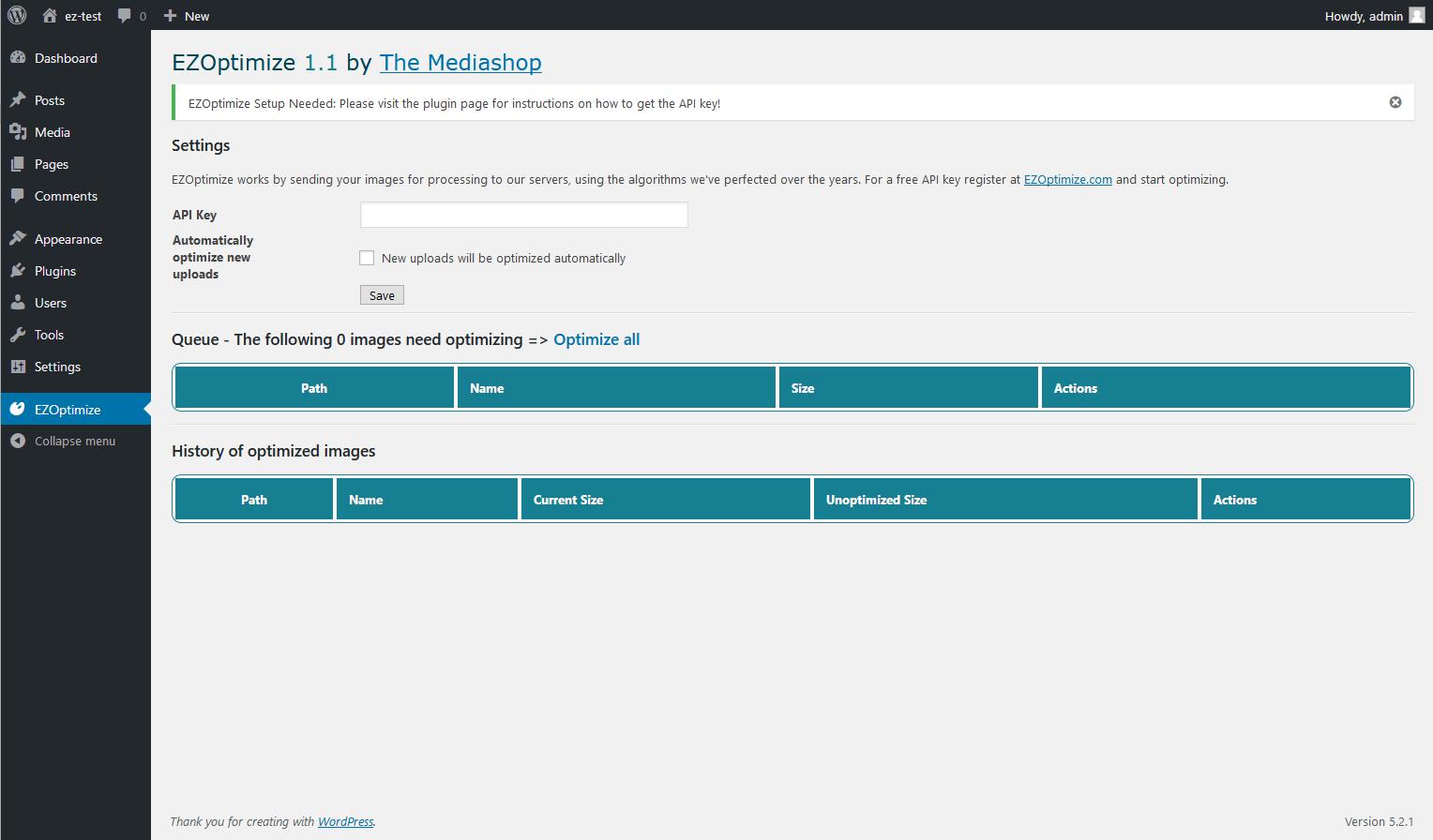 WordPress plugin - EZ Optimize